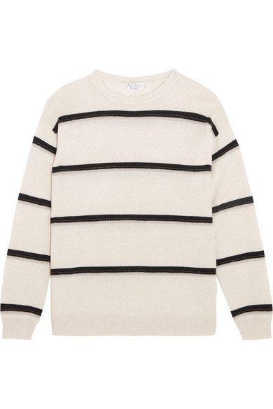 Brunello Cucinelli - Embellished Striped Cashmere Sweater - Beige