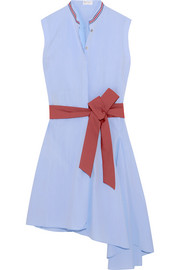 Asymmetric belted cotton-poplin dress