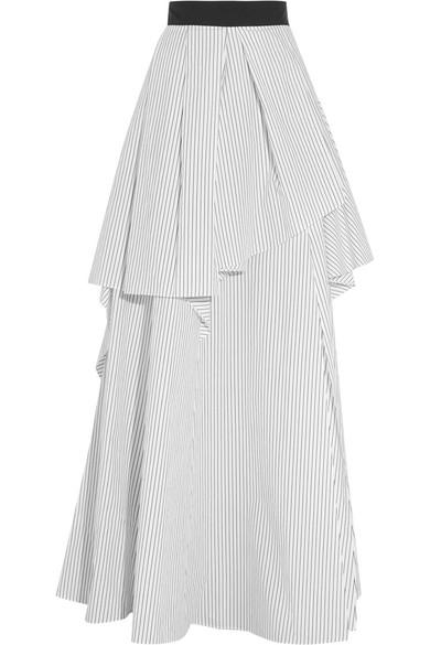 ea564fff7 Brunello Cucinelli | Layered pinstriped cotton-poplin maxi skirt ...