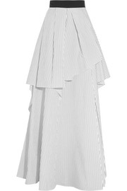 Brunello Cucinelli Layered pinstriped cotton-poplin maxi skirt