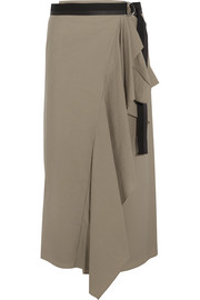 Canvas-trimmed draped cotton-blend wrap midi skirt