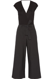 Belted ribbed cotton and gazar jumpsuit
