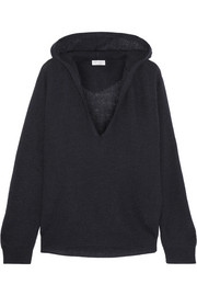 Hooded ribbed-knit sweater