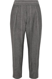 Cropped striped linen and wool-blend straight-leg pants
