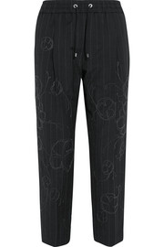 Brunello Cucinelli Cropped embellished pinstriped wool and linen-blend straight-leg pants