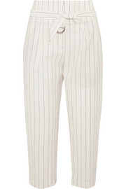 Cropped striped wool and linen-blend wide-leg pants