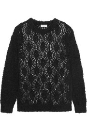 Bouclé-knit cotton-blend sweater
