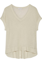Brunello Cucinelli Sequin-embellished linen and silk-blend sweater