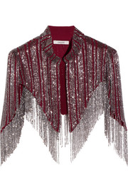 Fringed beaded georgette cape