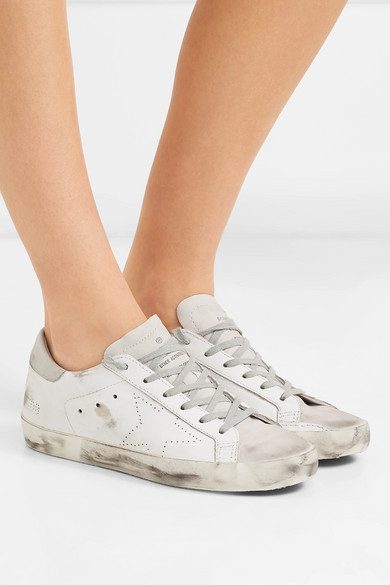 fd99fefe7be Golden Goose | Superstar distressed leather and suede sneakers | NET ...