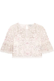Needle & Thread Rosette embellished embroidered tulle top