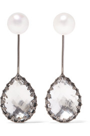 Antoinette rhodium-dipped, quartz and pearl earrings
