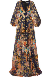 Chloé Floral-print metallic fil coupé silk-gauze maxi dress