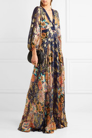 EXCLUSIVE Floral-print metallic fil coupé silk-gauze maxi dress