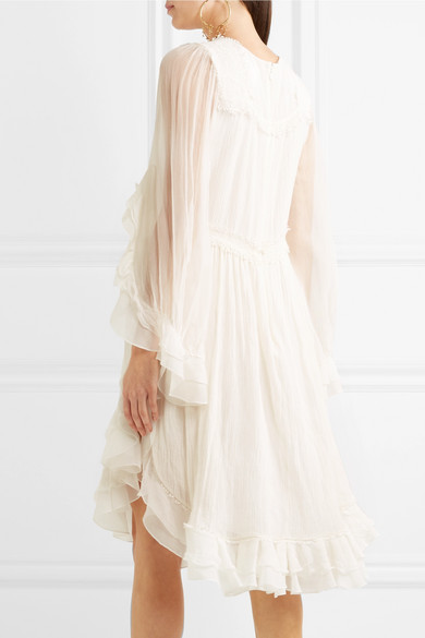 f36c8cd7 Ruffled crocheted lace-paneled silk-crepon dress