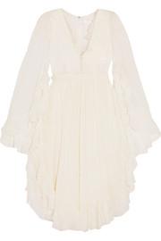 Chloé Ruffled crocheted lace-paneled silk-crepon mini dress