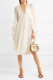 Chloé EXCLUSIVE Ruffled crocheted lace-paneled silk-crepon mini dress