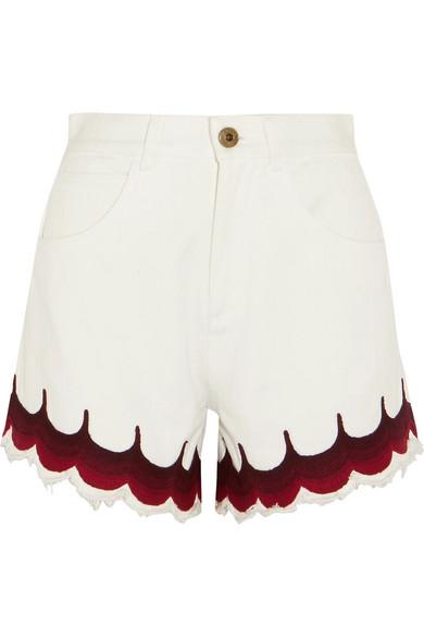 Chloé - Scalloped Embroidered Denim Shorts - White