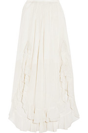 EXCLUSIVE Ruffled cotton and silk-blend maxi skirt