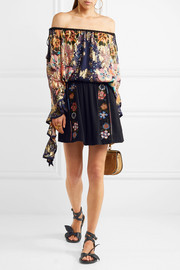 EXCLUSIVE Off-the-shoulder floral-print fil coupé silk blouse
