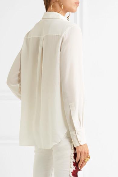 d033e26ed7e87a Chloé | Embroidered silk crepe de chine shirt | NET-A-PORTER.COM