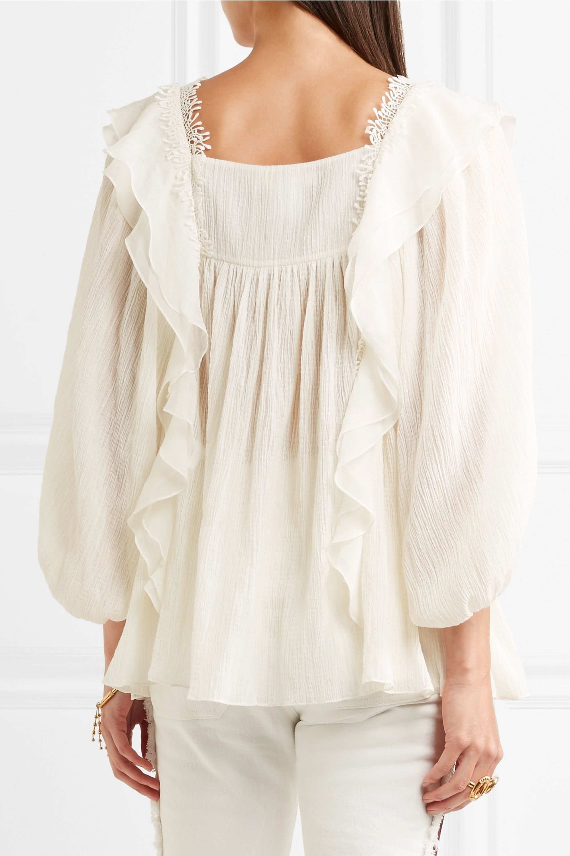 Chloé Ruffled cotton and silk-blend blouse