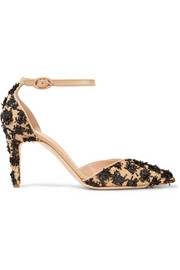 Calleen leather-trimmed woven raffia pumps
