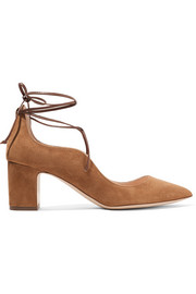 Rupert Sanderson Poet lace-up suede pumps