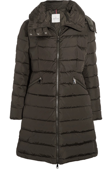 Flamette quilted shell down coat