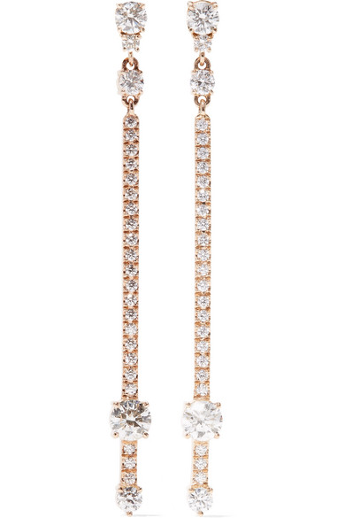 Jemma Wynne - 18-karat Rose Gold Diamond Earrings - one size