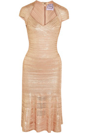 Metallic bandage and pointelle-knit midi dress