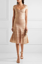 Hervé Léger Metallic bandage and pointelle-knit dress
