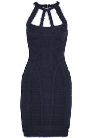 Hervé Léger Cutout tulle-trimmed bandage mini dress