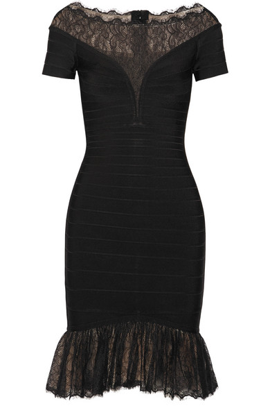 Hervé Léger - Lace-trimmed Bandage Dress - Black