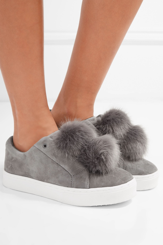 Gray Leya faux fur-embellished suede