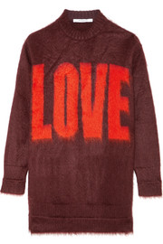Givenchy Intarsia sweater in burgundy mohair-blend