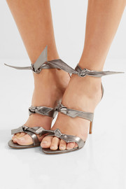 Lolita bow-embellished metallic leather sandals