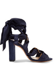 Alessa lace-up satin and suede sandals
