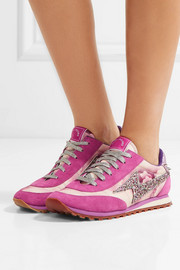 Marc Jacobs Astor embellished printed canvas, leather and suede sneakers