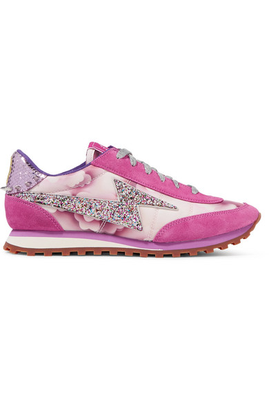marc jacobs female marc jacobs astor embellished printed canvas leather and suede sneakers fuchsia