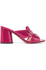 Marc Jacobs Aurora glittered patent-leather mules