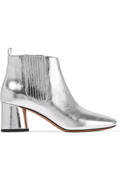 marc jacobs female marc jacobs rocket metallic leather chelsea boots silver