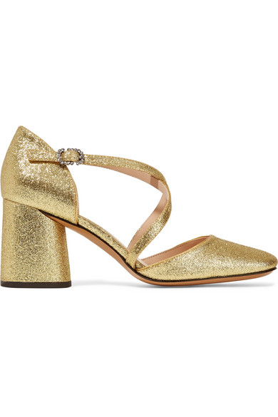 marc jacobs female marc jacobs haven glittered leather pumps gold