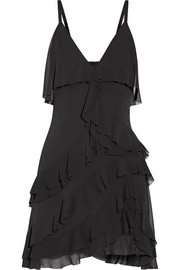 Lavinia ruffled crepon mini dress