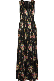 Ava lace-paneled floral-print silk maxi dress