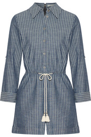 Carolina striped cotton-chambray playsuit