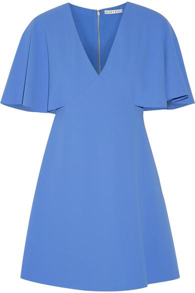 Krysta cape-back crepe mini dress