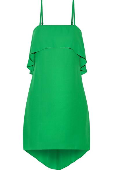 Reese layered asymmetric crepe de chine mini dress