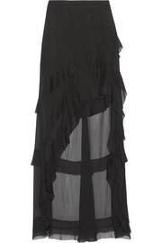 Lavera asymmetric ruffled georgette maxi skirt