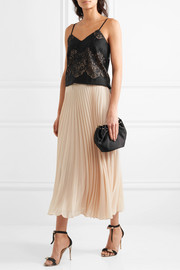 Essie pleated georgette midi skirt